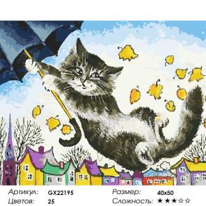 Количество цветов и сложность   Полет на зонтике Раскраска картина по номерам на холсте GX22195