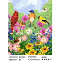 Птички, бабочки, цветы Раскраска по номерам на холсте Menglei