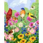 Птички, бабочки, цветы Раскраска по номерам на холсте Menglei Z-GX5537
