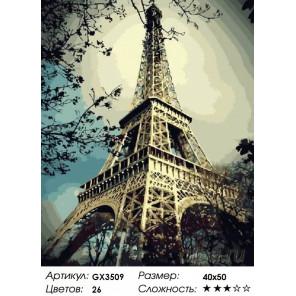 Количество цветов и сложность Эйфелева башня. Париж Раскраска по номерам на холсте Menglei Z-GX3509