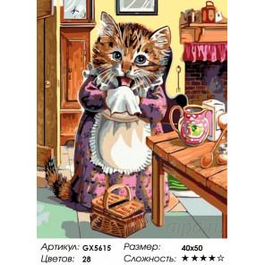 Количество цветов и сложность Кошка повар Раскраска по номерам на холсте Menglei Z-GX5615