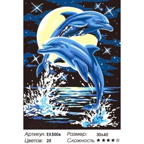 Лунные дельфины Раскраска картина по номерам акриловыми красками на холсте Menglei