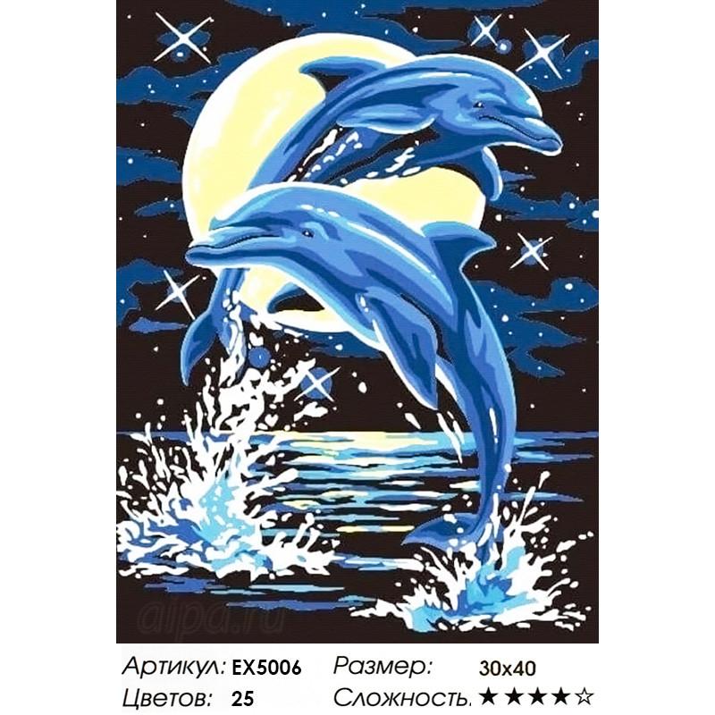 Z-EX5006 Лунные дельфины Раскраска картина по номерам ...