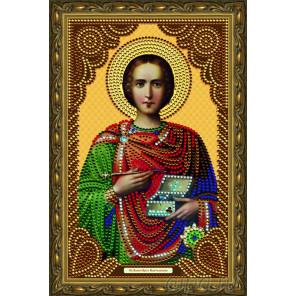 В рамке  Святой Великомученик Целитель Пантелеймон Алмазная частичная мозаика на подрамнике Color Kit IK012