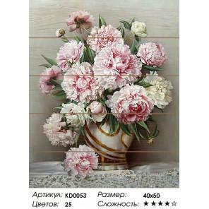 Розовые пионы. Игорь Бузин Картина по номерам на дереве