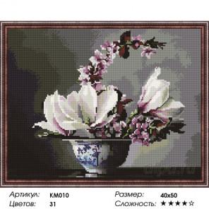 Количество цветов и сложность Лаконичный букет Алмазная мозаика на подрамнике KM010