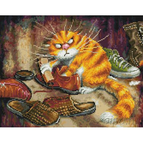 Недовольный кот Алмазная мозаика на подрамнике EW 10187