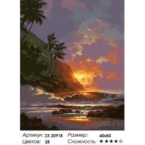 Количество цветов и сложность Гавайский закат Раскраска картина по номерам на холсте ZX 20918