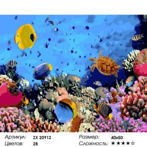 Количество цветов и сложность Морские обитатели Раскраска картина по номерам на холсте ZX 20912
