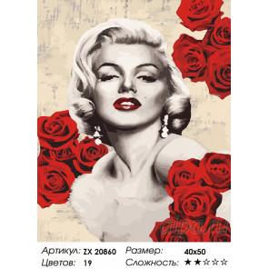 Количество цветов и сложность Мэрилин Монро в розах Раскраска картина по номерам на холсте ZX 20860
