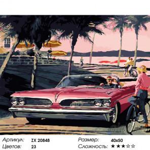 Количество цветов и сложность Красный понтиак Раскраска картина по номерам на холсте ZX 20848