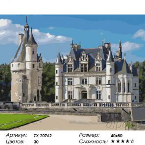 Замок Шенонсо. Франция Раскраска картина по номерам на холсте