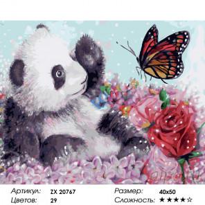Панда и бабочка Раскраска картина по номерам на холсте