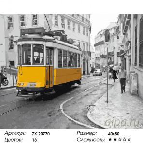 Количество цветов и сложность Желтый трамвай Раскраска картина по номерам на холсте ZX 20770