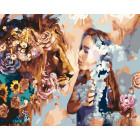 Девушка со львом Раскраска картина по номерам на холсте ZX 20825