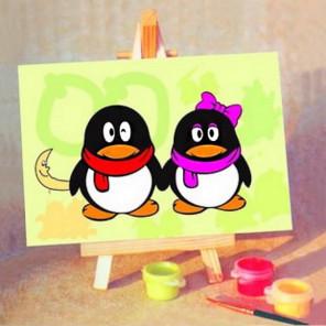 Пингвинчики Раскраска мини по номерам