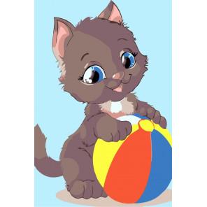 Котенок с мячом Раскраска мини по номерам