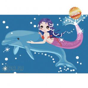 Премиум набор Дельфин и русалка Раскраска картина по номерам на холсте MC031