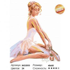 Количество цветов и сложность Сидящая балерина Раскраска картина по номерам на холсте MG2053