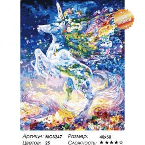 Количество цветов и сложность Сказочный единорог Раскраска картина по номерам на холсте MG3247