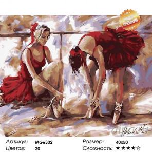 Балерины в красном Раскраска картина по номерам на холсте MG6302