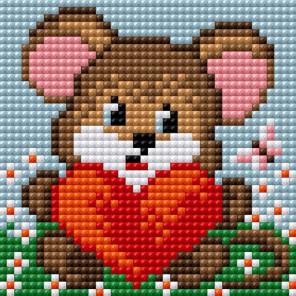 Мышка с сердцем Алмазная мозаика на магнитной основе