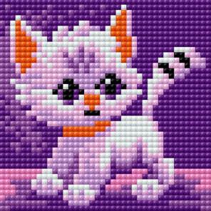 Белый котик Алмазная мозаика на магнитной основе
