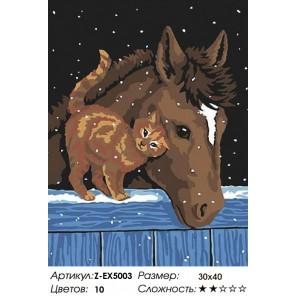 Количество цветов и сложность Лошадь и кот Раскраска картина по номерам на холсте Z-EX5003