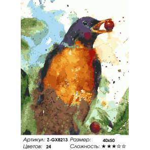 Количество цветов и сложность Балтиморская иволга  Раскраска картина по номерам на холсте Z-GX8213