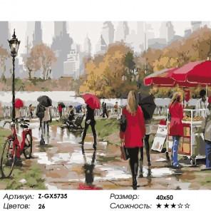 Количество цветов и сложность Дождь в летнем парке Раскраска картина по номерам на холсте Z-GX5735