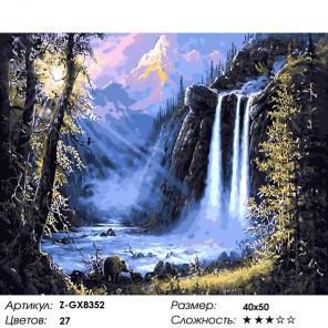 Количество цветов и сложность Водопад в лучах заката Раскраска картина по номерам на холсте Z-GX8352