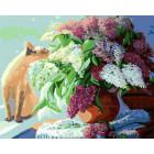Кошка и сирень Раскраска картина по номерам на холсте Z-GX8195