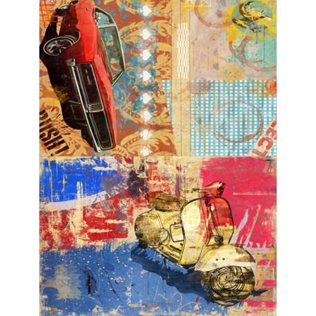Машина и мотоцикл DGR 54 Рисовая декупажная карта Calambour