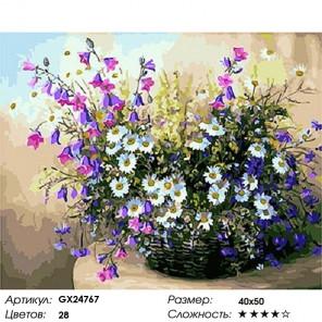 Количество цветов и сложность Полевые цветы в корзинке Раскраска картина по номерам на холсте GX24767