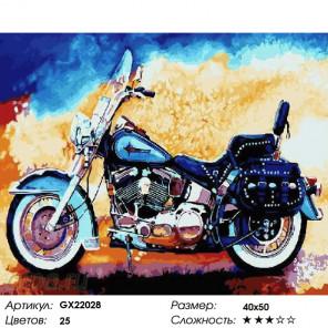 Количество цветов и сложность Синий байк Раскраска картина по номерам на холсте GX22028