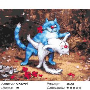 Кошачье танго Раскраска картина по номерам на холсте