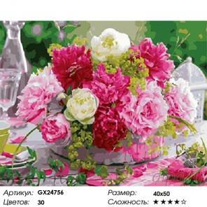 Количество цветов и сложность Композиция пионов в плетеной корзине Раскраска картина по номерам на холсте GX24756