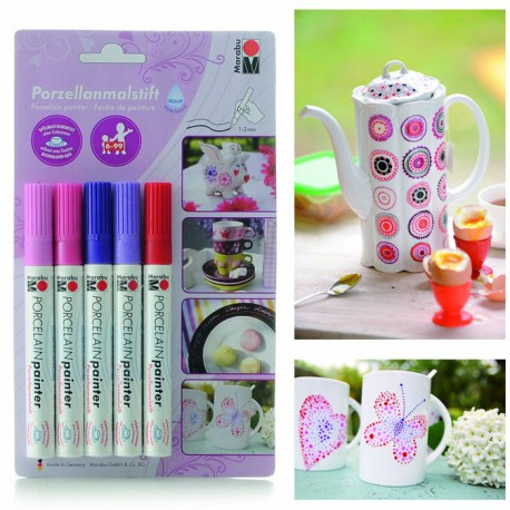 Розовый Набор фломастеров для росписи керамики (без обжига) Marabu-Porcelain Painter