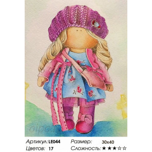 Количество цветов и сложность  Кукла Ника Алмазная мозаика на подрамнике LE044