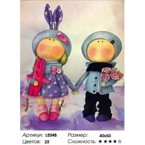 Количество цветов и сложность  Куклы Аня и Ваня Алмазная мозаика на подрамнике LE048