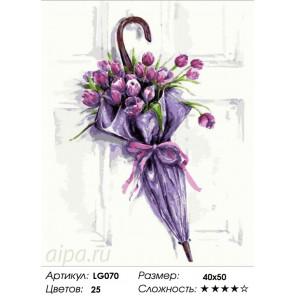 Количество цветов и сложность Цветочный зонт Алмазная мозаика на подрамнике LG070