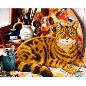Кот и краски Алмазная мозаика на подрамнике LGP018