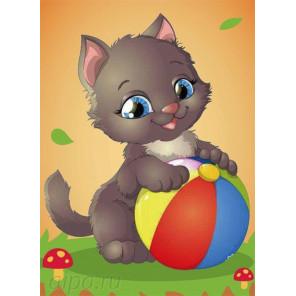 Котенок с мячом Алмазная частичная мозаика с рамкой X007