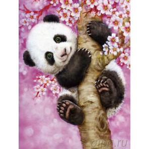 Панда на ветке сакуры Алмазная вышивка мозаика LZE053
