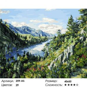 Количество цветов и сложность Река Катунь Раскраска картина по номерам на холсте Белоснежка 259-AS