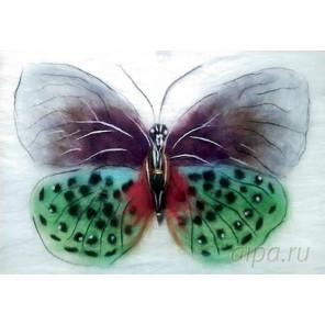 Бабочка Баттерфляй Картина из шерсти с рамкой