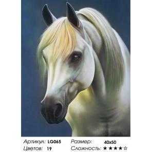 Количество цветов и сложность Белая лошадь Алмазная мозаика на подрамнике