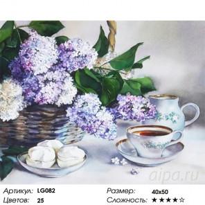 Количество цветов и сложность Корзина сирени Алмазная мозаика на подрамнике