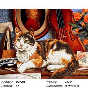 Количество цветов и сложность Кот и скрипка Алмазная мозаика на подрамнике