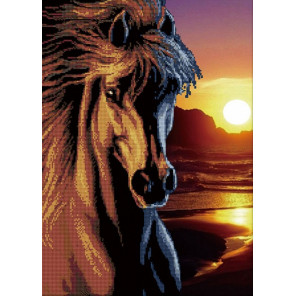 Черный конь Алмазная частичная вышивка (мозаика) D-2161